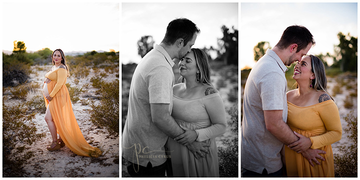 desert maternity session in gold gown at sunset