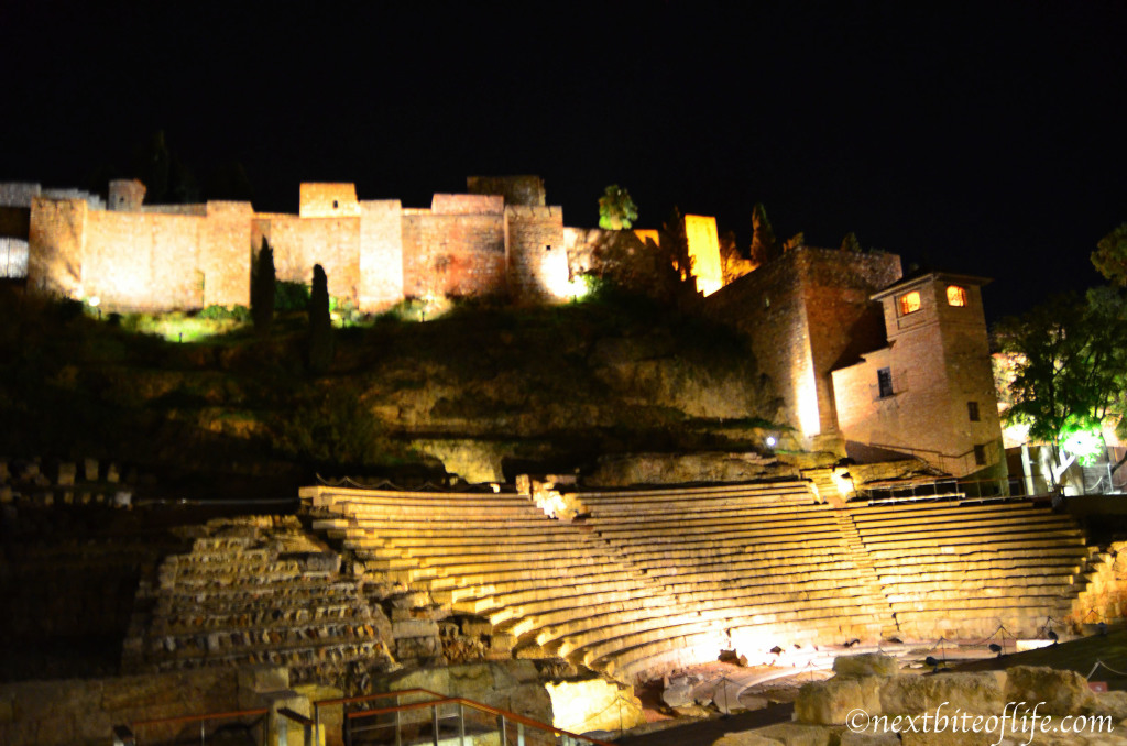 malaga roman theatre night view