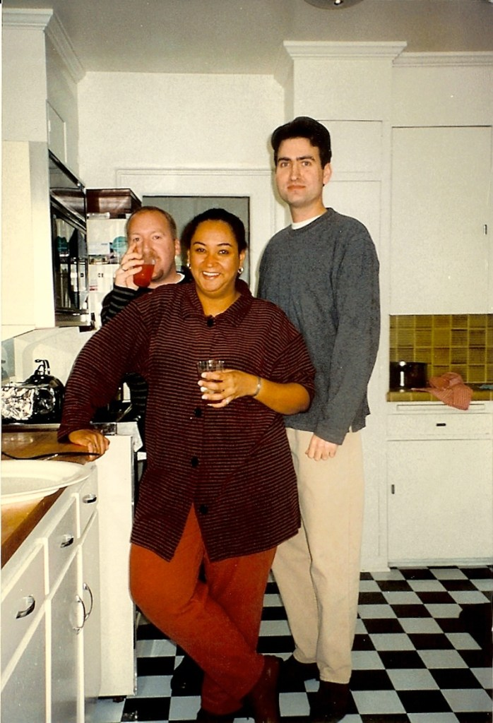 My 2 house mates - my very first house. Owned 50% with the fellow on the left! Our new checker floors!