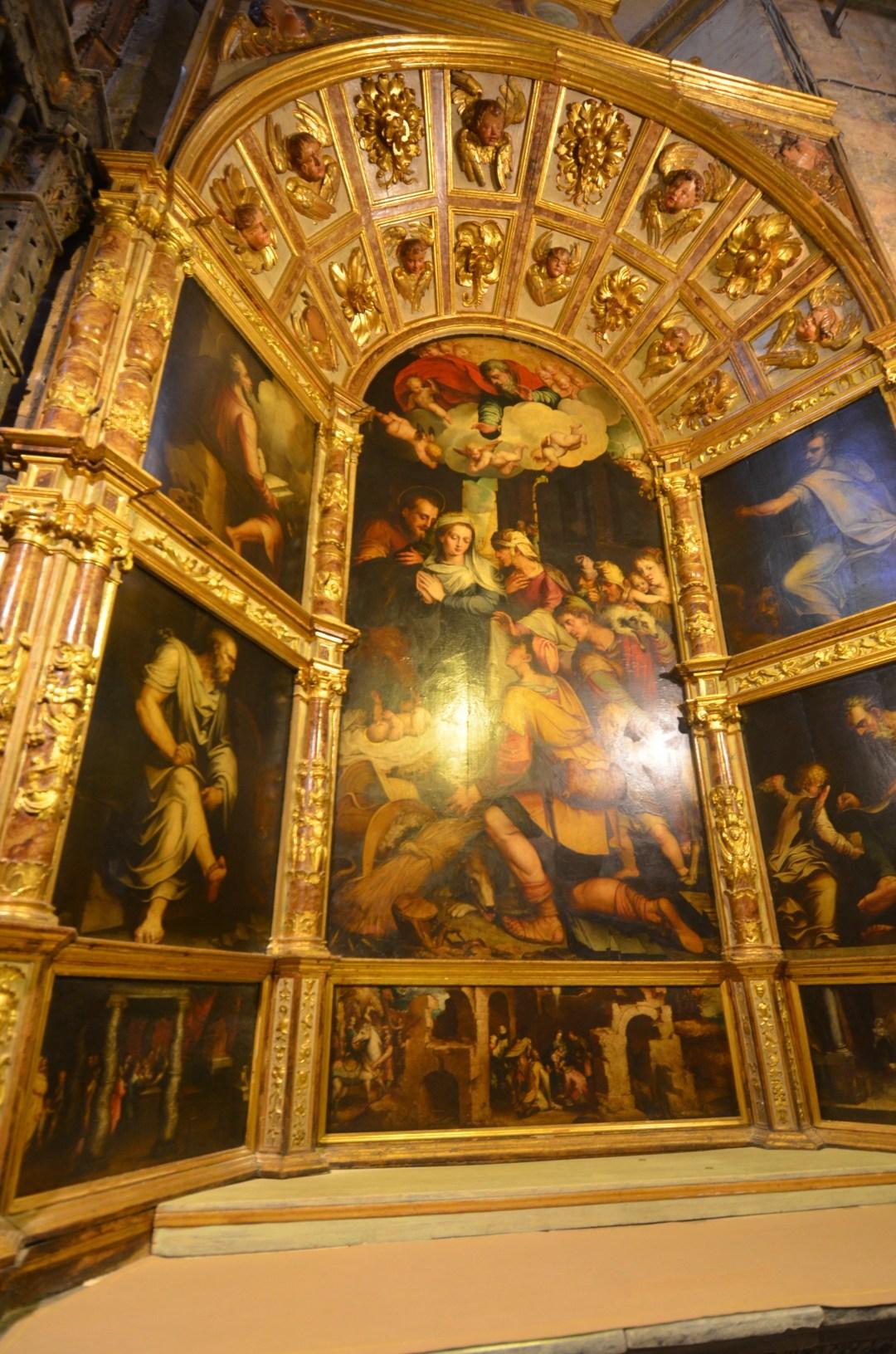 gold gilded altar at seville cathedral