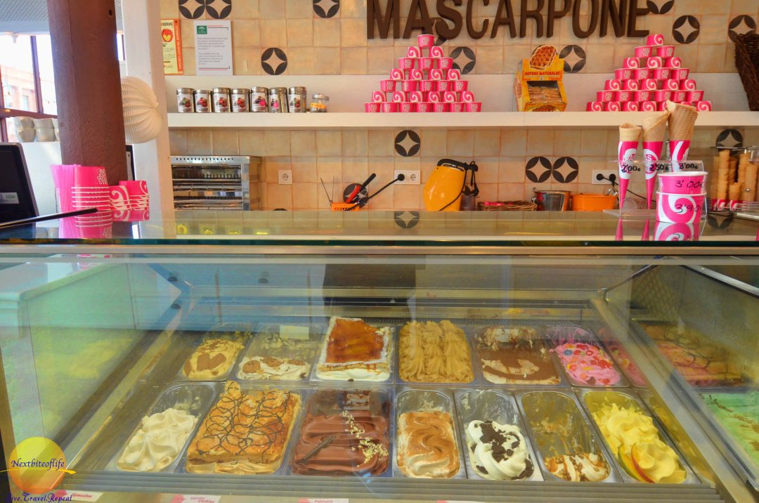 Marscapone stall at mercado barranco seville.