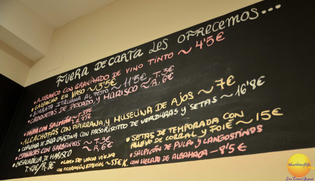 Daily specials board..