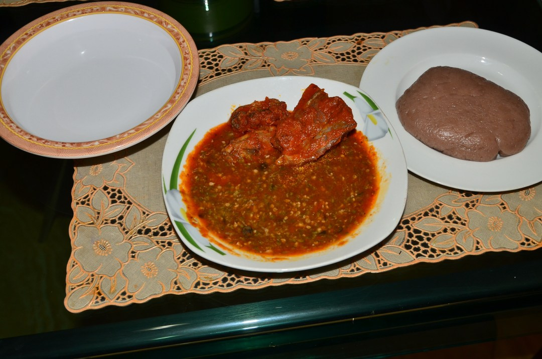This is Amala, stew and okra of course.