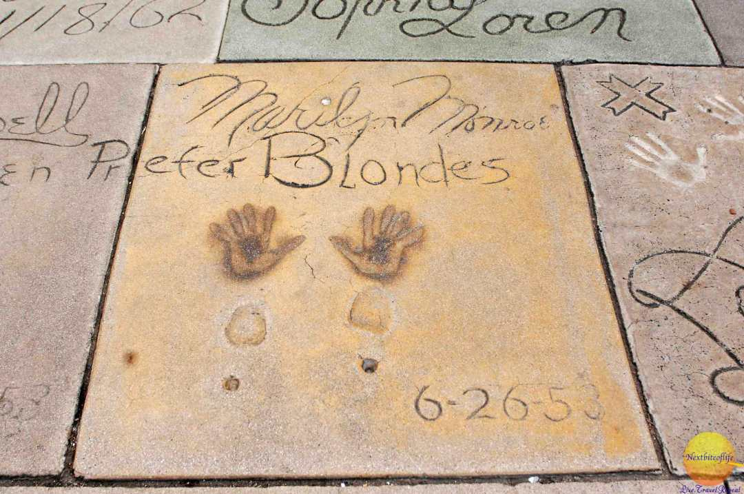 picture of marilyn monroe hand and foot prints at manns chinese, hollywood