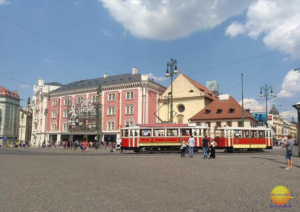 Prague mall and tram