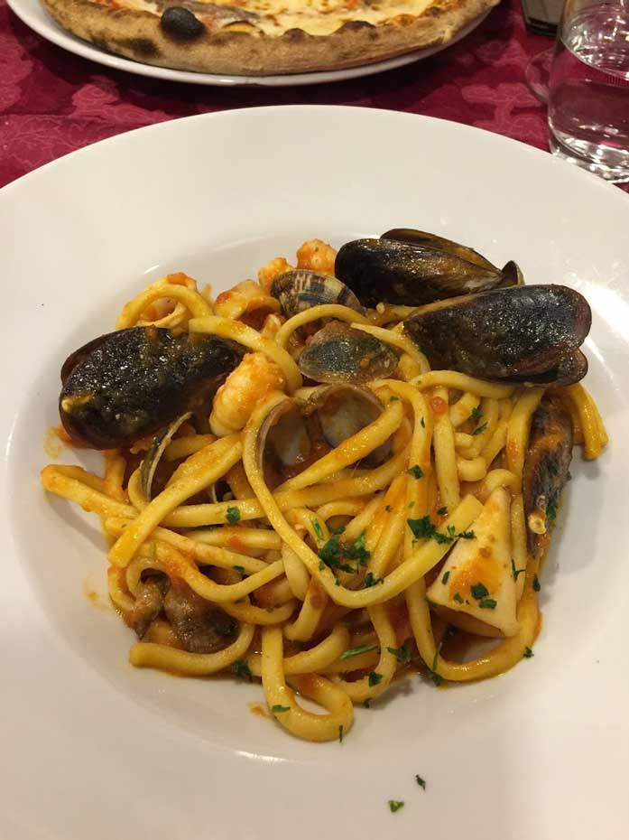 spaghetti with seafood plate Milan.