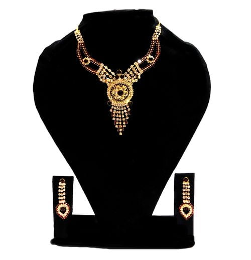 NextBuye Crystal Stone Jewelry Set with Earrings [Black] 1