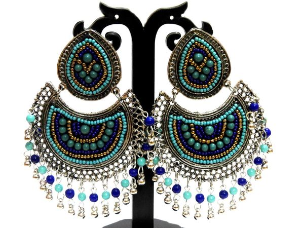 NextBuye Ethnic Chandbali Earrings [Blue] 1