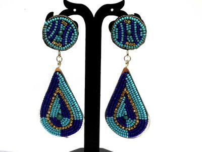 Nextbuye Beaded Tear Drop Earrings [Blue] 1