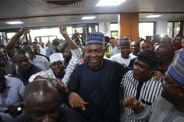 PHOTOS OF THE DAY: NASS siege:  Saraki, others celebrate recall of security agents
