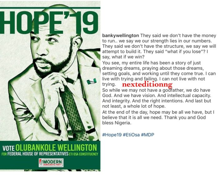 Banky W declares intention to run for House of Representatives come 2019