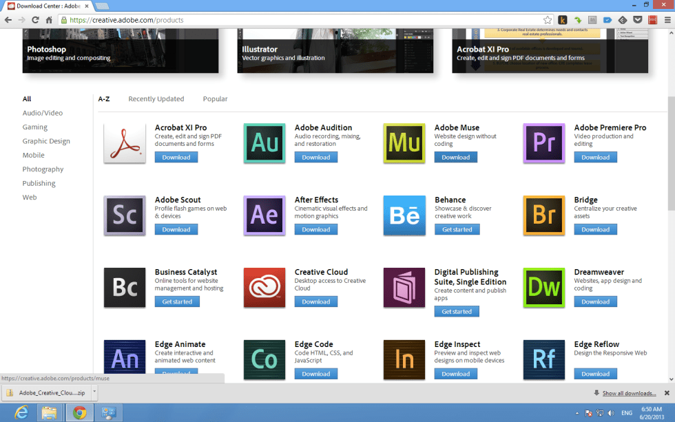 Adobe application in Adobe CC's download center