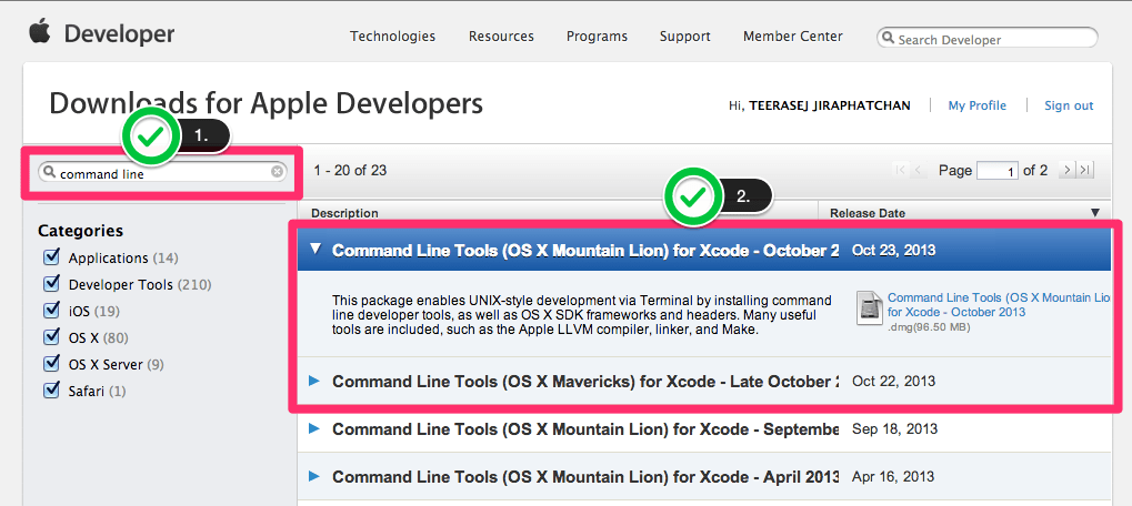 Download XCode Command Line Tools for PhoneGap XCode 5
