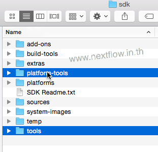 Android SDK folder tools and platform tools