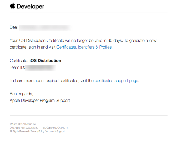 iOS Distribution Certification Expire Apple Email