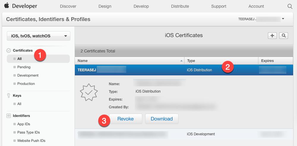 Revoke iOS Distribution Certificate