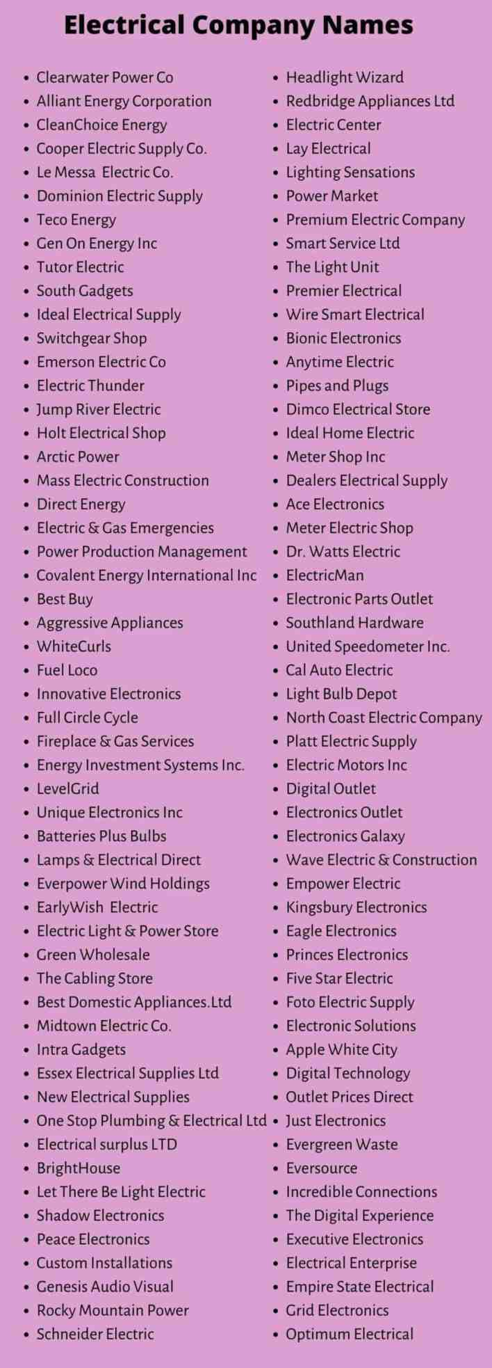 Electrical Company Names