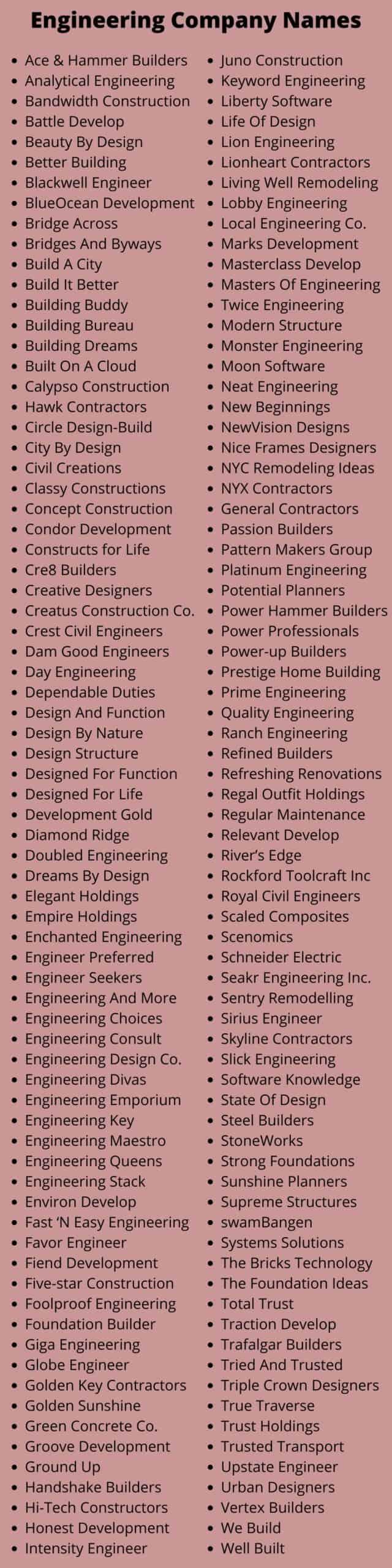 Engineering Company Names