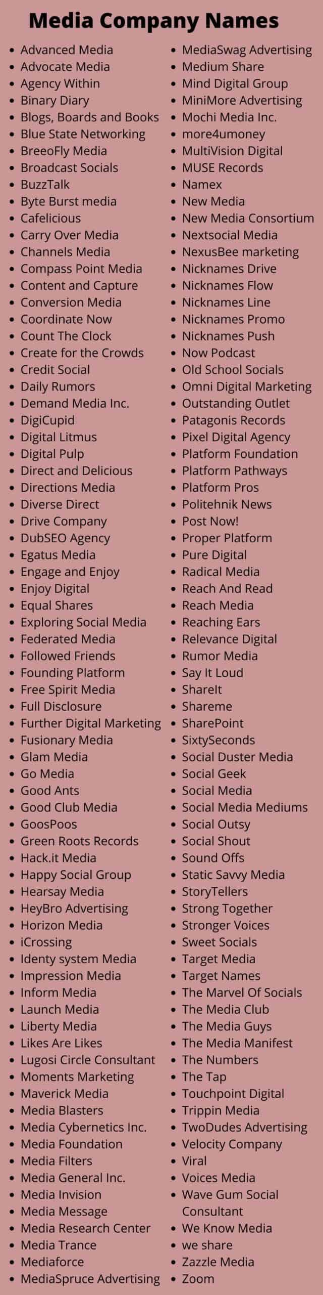 Media Company Names