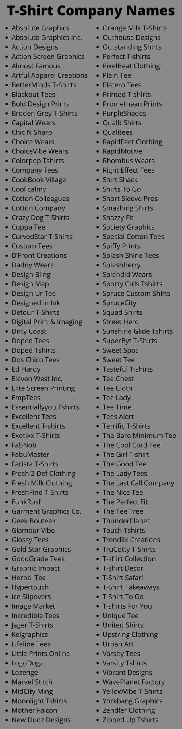 T-Shirt Company Names