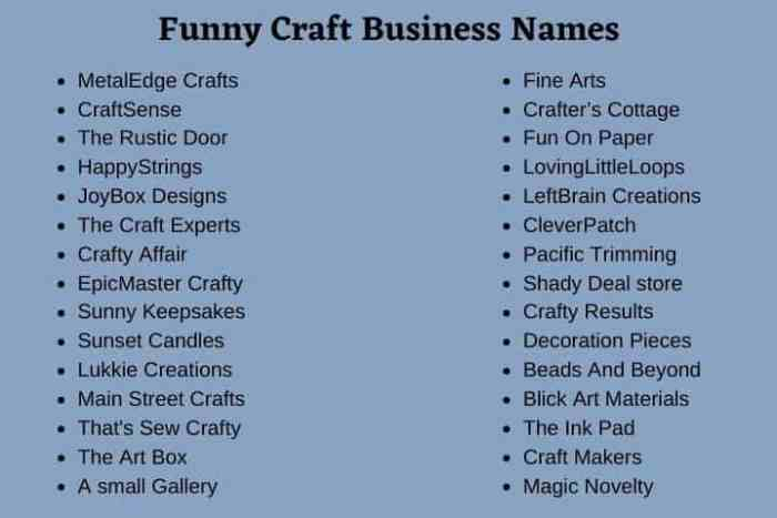 Funny Craft Business Names