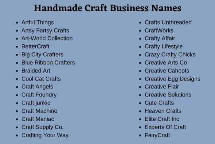 Handmade Craft Business Names