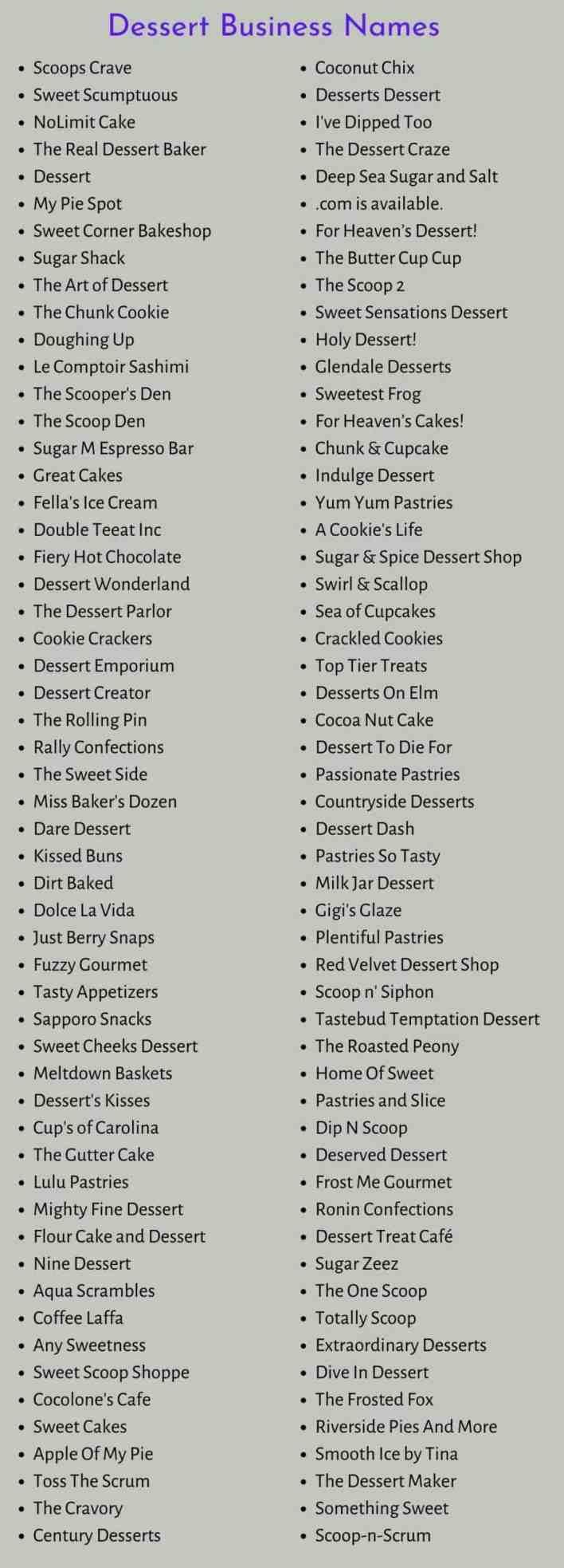 Dessert Business Names