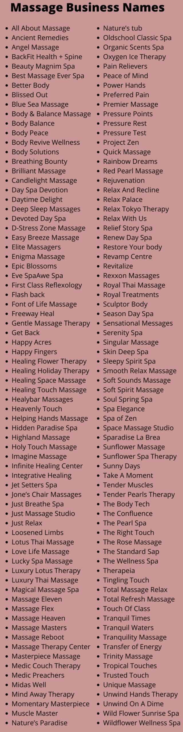 Massage Business Names