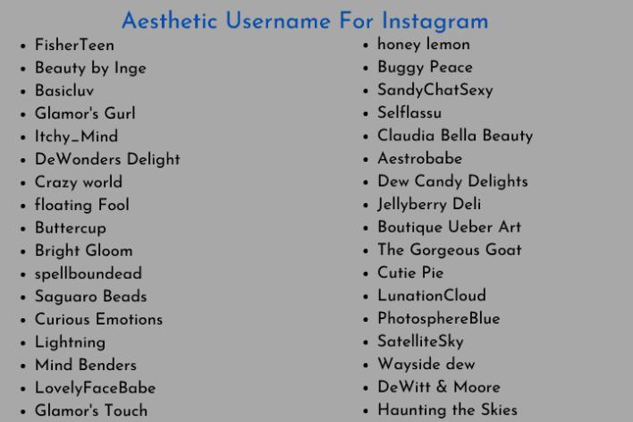 Aesthetic Username For Instagram