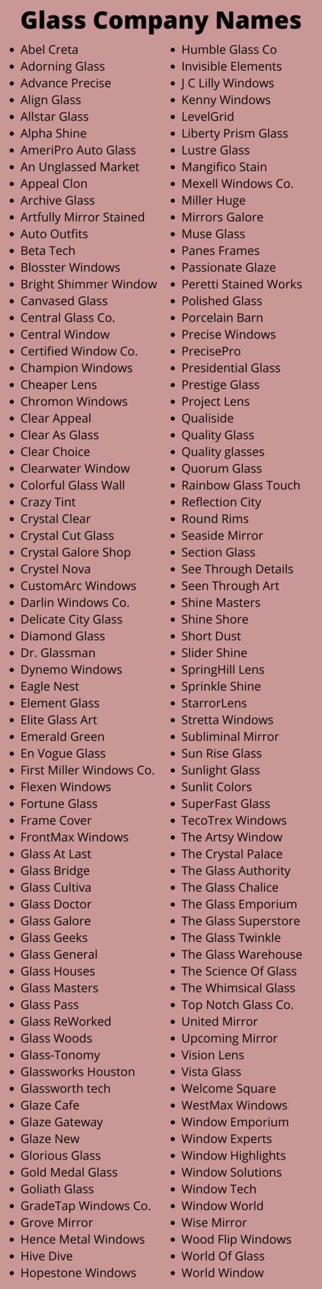 Glass Company Names
