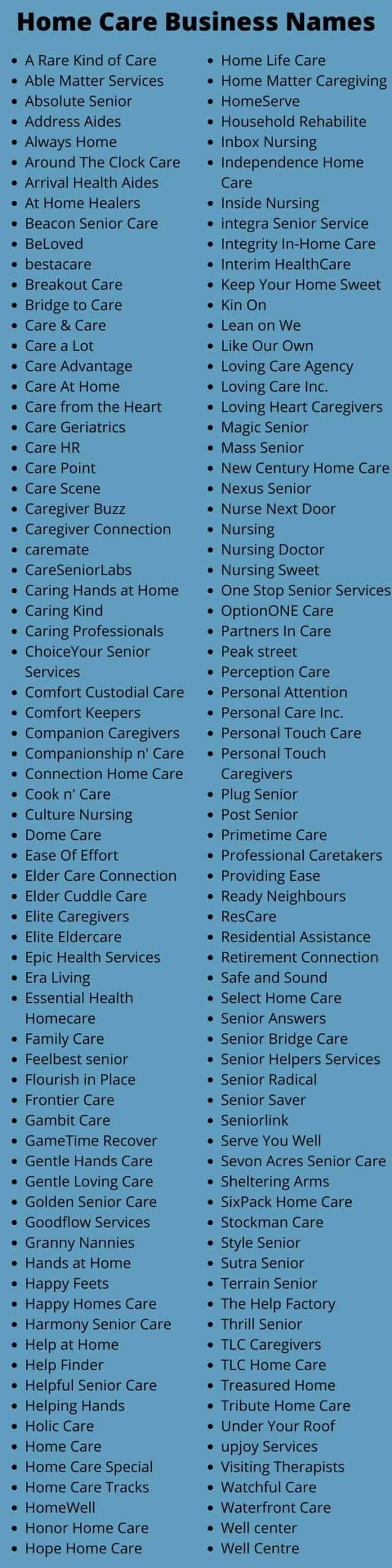 Home Care Business Names