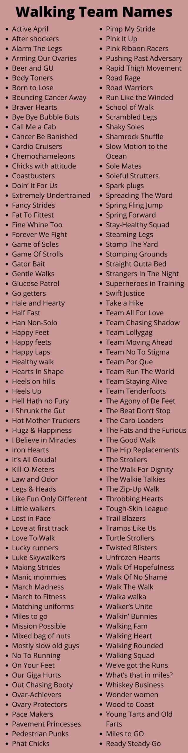 Walking Team Names