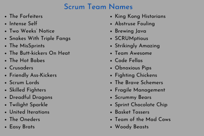 Scrum Team Names