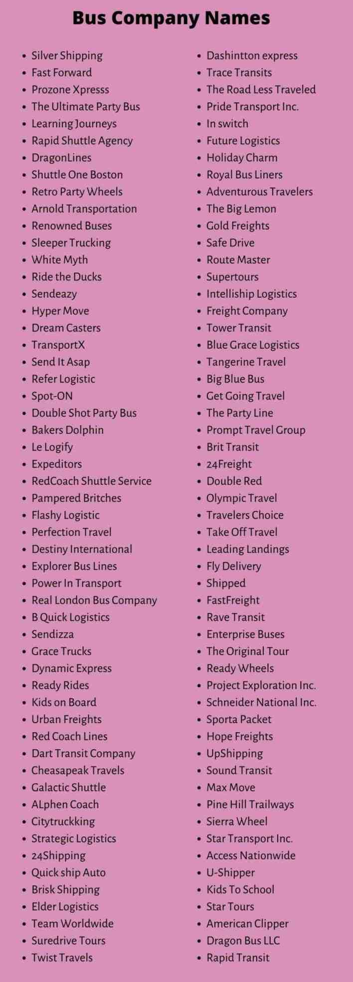 Bus Company Names