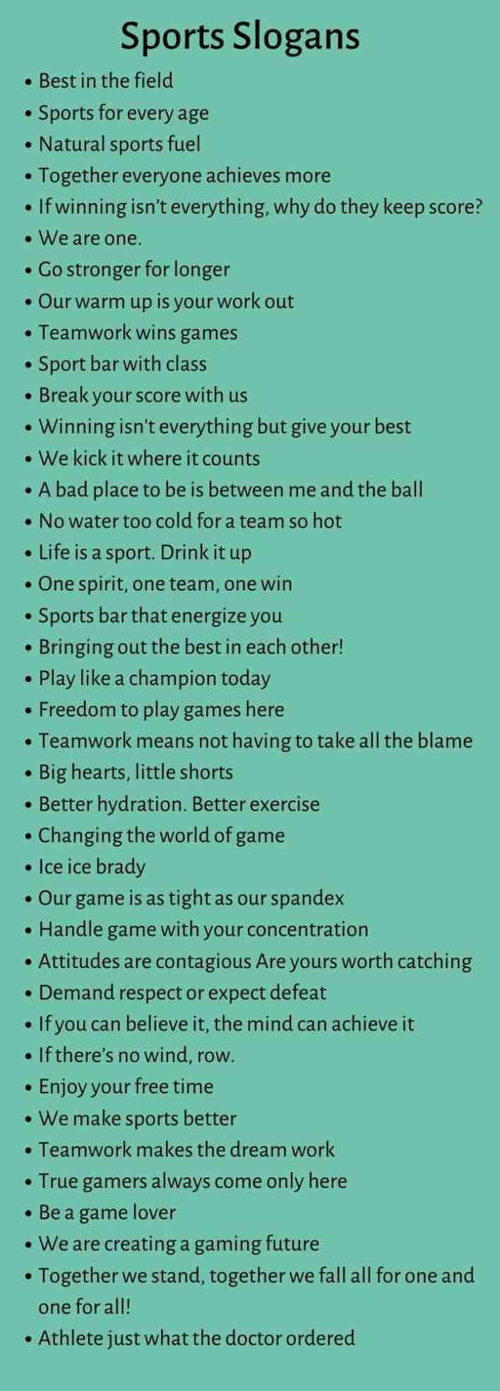 Sports Slogans