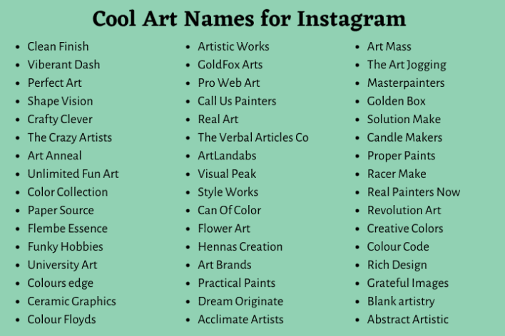 Cool Art Names for Instagram