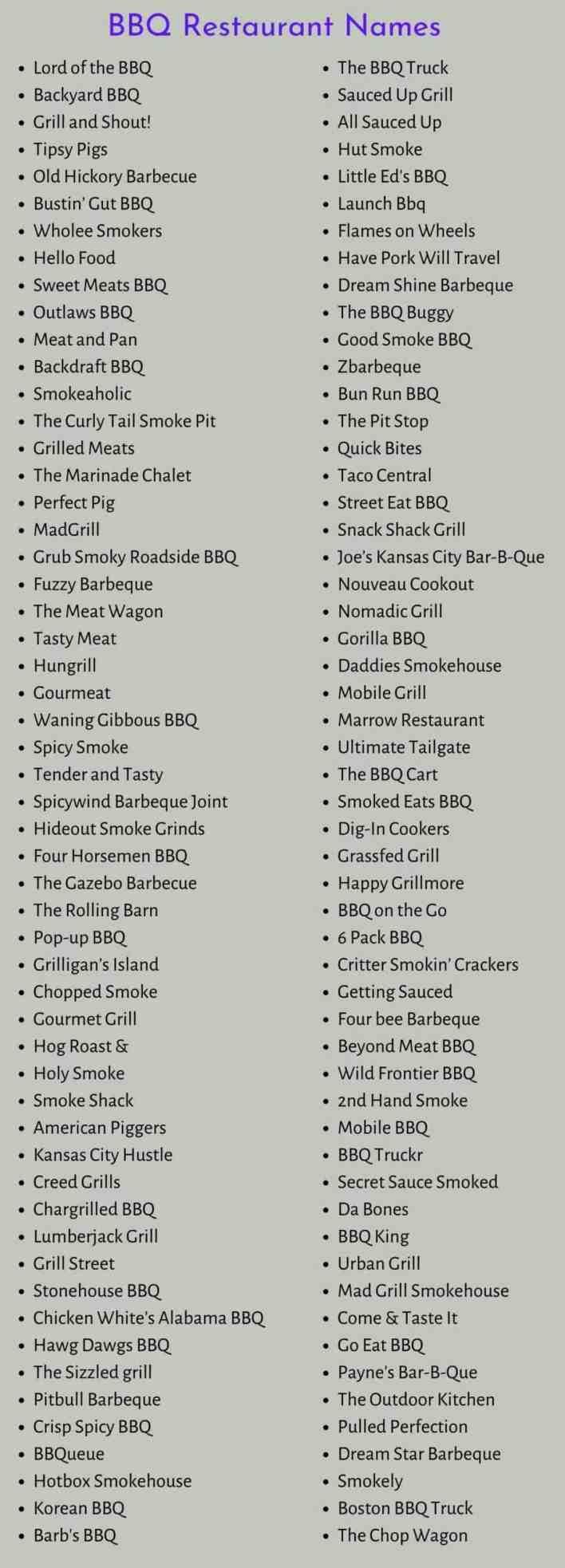BBQ Restaurant Names