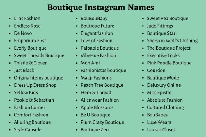 Boutique Instagram Names