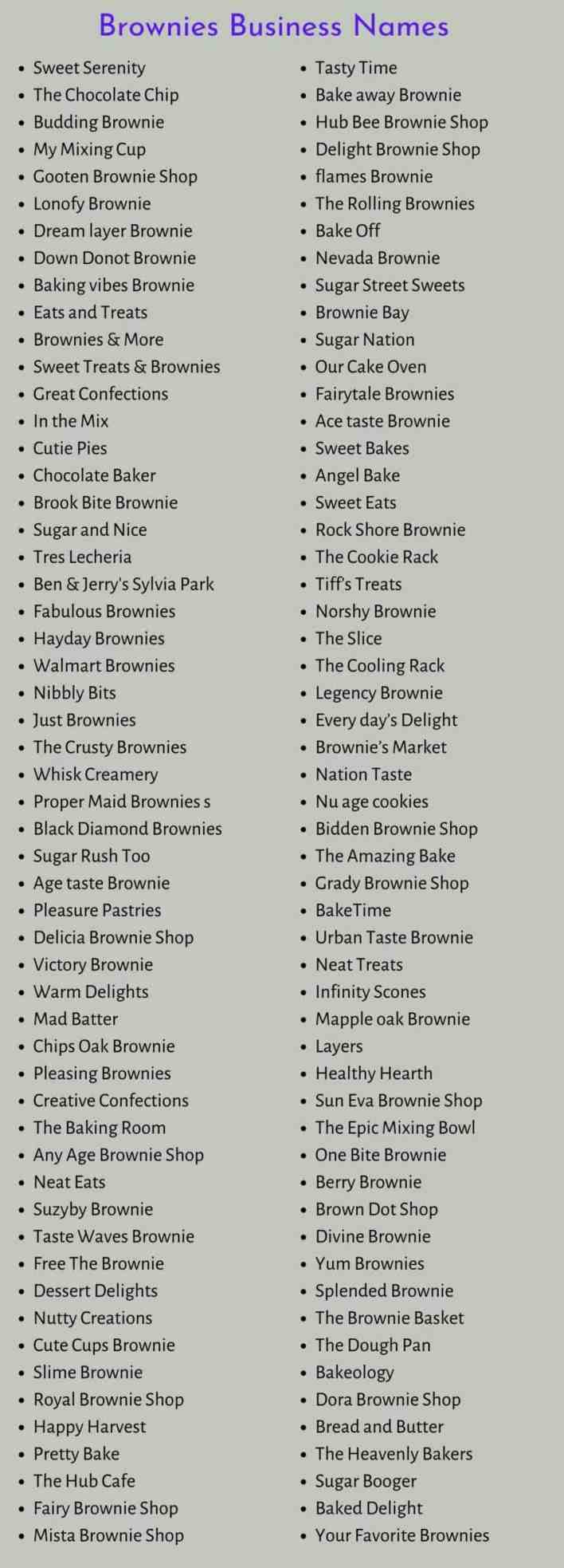 Names for Brownies