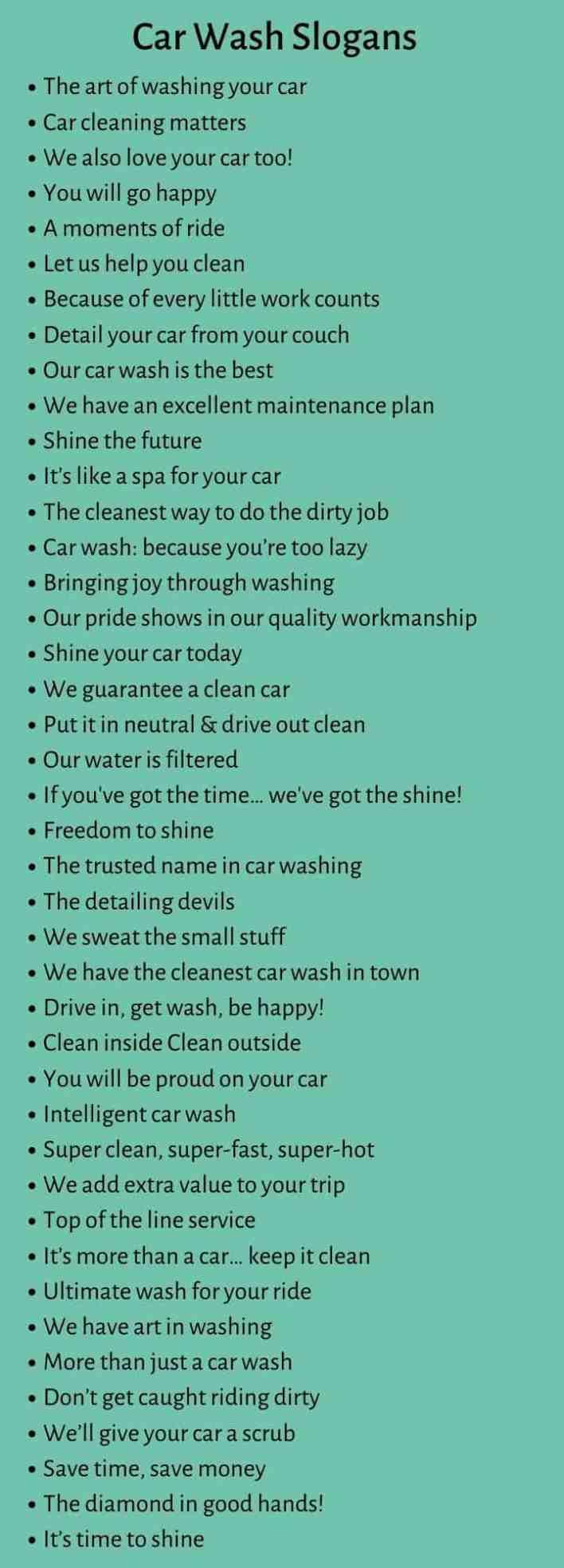 Car Wash Slogans