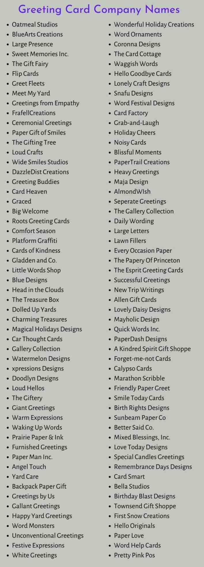 Card Company Names