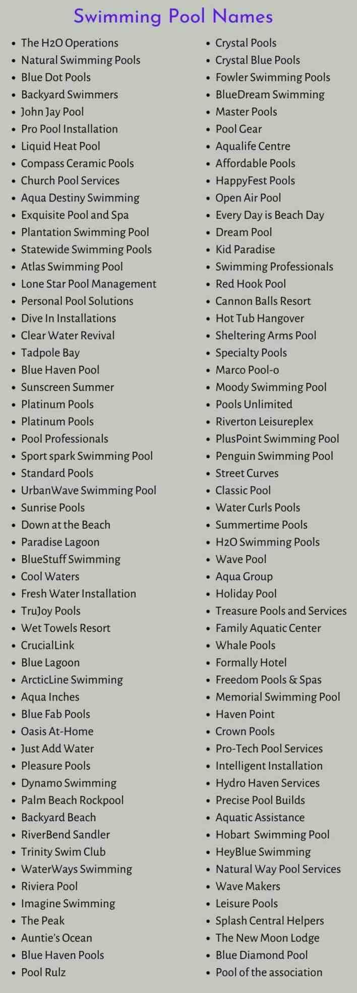 Swimming Pool Names