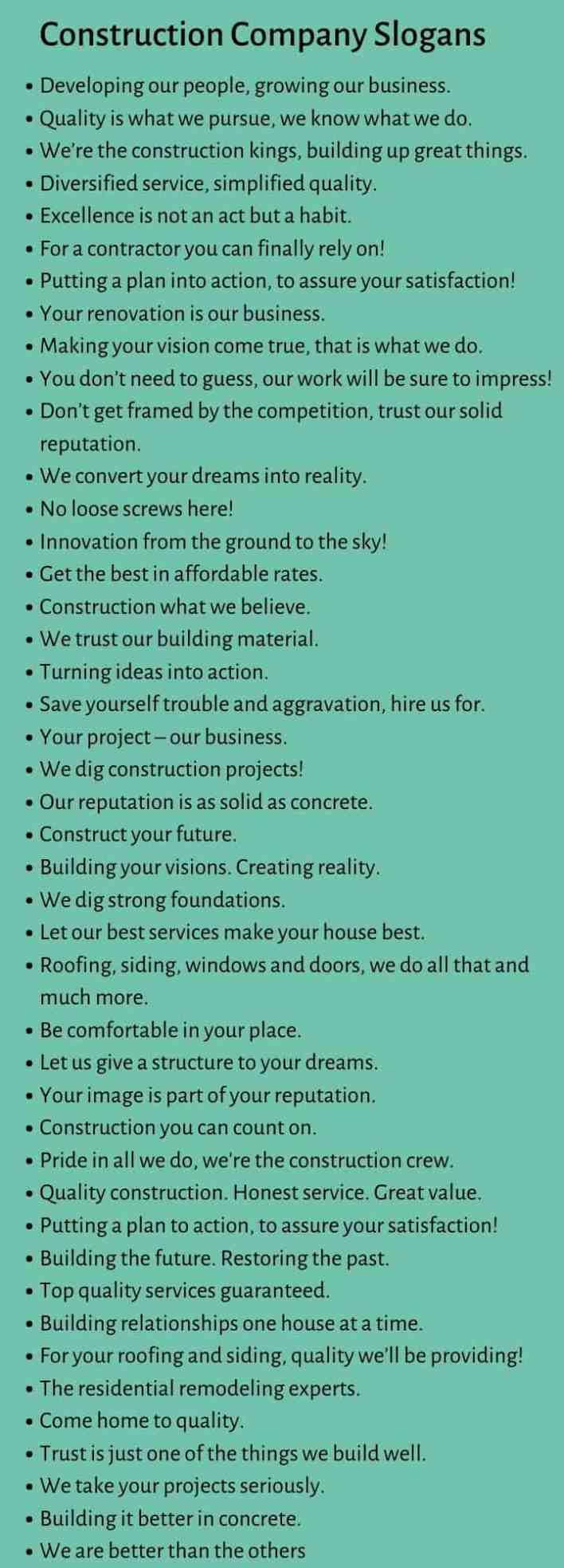 Construction Company Slogans