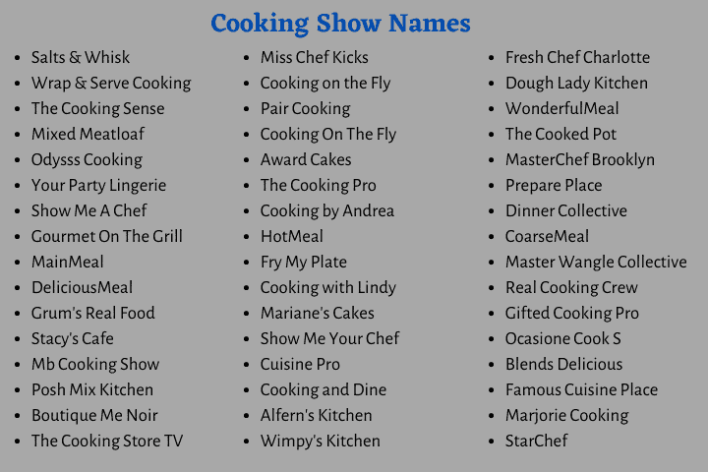 Cooking Show Names