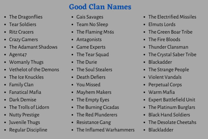 Good Clan Names