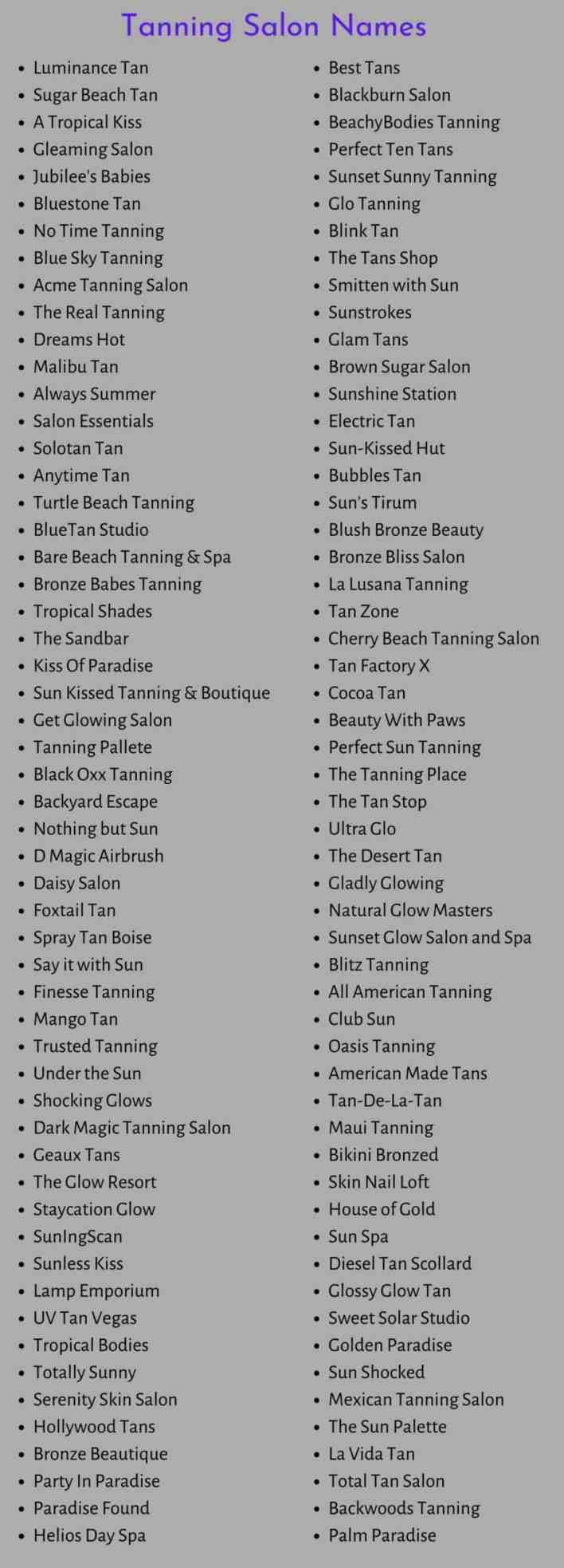 Tanning Salon Names