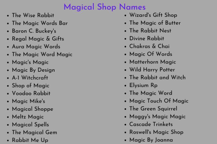 Magical Shop Names