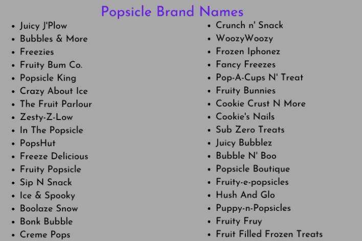 Popsicle Brand Names