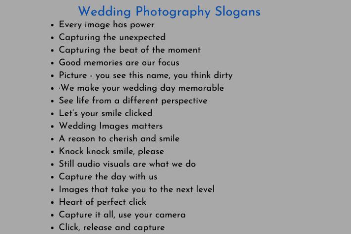 Wedding Photography Slogans