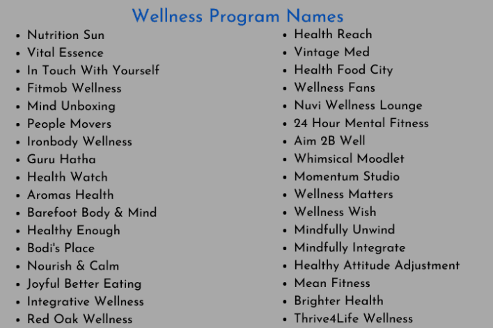 Wellness Program Names